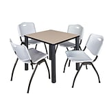Regency Kee 30 Square Breakroom Table- Beige/ Black & 4 M Stack Chairs- Grey