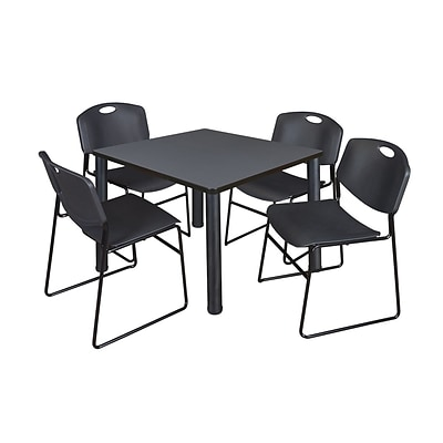 Regency Kee 36 Square Breakroom Table- Grey/ Black & 4 Zeng Stack Chairs- Black