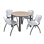 Regency Kee 48 Round Breakroom Table- Beige/ Black & 4 M Stack Chairs- Grey
