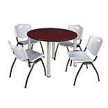 Regency Kee 48 Round Breakroom Table- Mahogany/ Chrome & 4 M Stack Chairs- Grey