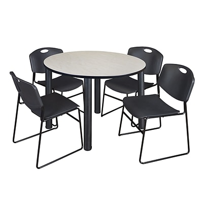 Regency Kee 48 Round Breakroom Table- Maple/ Black & 4 Zeng Stack Chairs- Black
