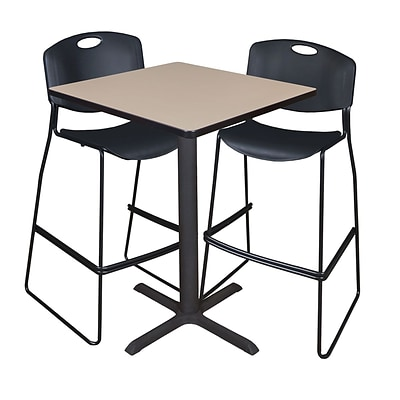 Regency Cain 30 Square Cafe Table- Beige & 2 Zeng Stack Stools- Black