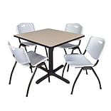 Regency Cain 36 Square Breakroom Table- Beige & 4 M Stack Chairs- Grey