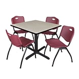 Regency Cain 36 Square Breakroom Table- Maple & 4 M Stack Chairs- Burgundy