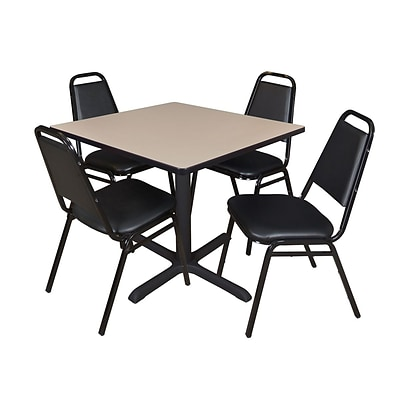 Regency Cain 42 Square Breakroom Table- Beige & 4 Restaurant Stack Chairs- Black