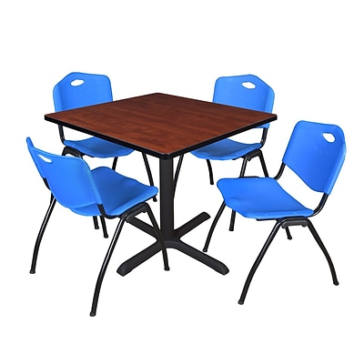 Regency Cain 42 Square Breakroom Table- Cherry & 4 M Stack Chairs- Blue