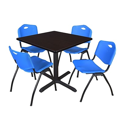Regency Cain 42 Square Breakroom Table- Mocha Walnut & 4 M Stack Chairs- Blue