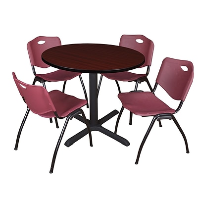 Regency Cain 42 Round Breakroom Table- Mahogany & 4 M Stack Chairs- Burgundy