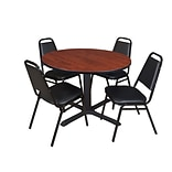 Regency Cain 48 Round Breakroom Table- Cherry & 4 Restaurant Stack Chairs- Black