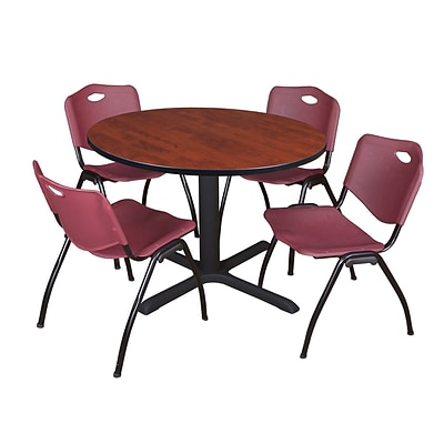 Regency Cain 48 Round Breakroom Table- Cherry & 4 M Stack Chairs- Burgundy