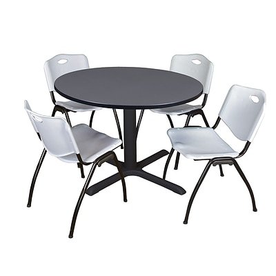 Regency Cain 48 Round Breakroom Table- Grey & 4 M Stack Chairs- Grey