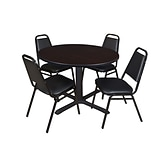 Regency Cain 48 Round Breakroom Table- Mocha Walnut & 4 Restaurant Stack Chairs- Black