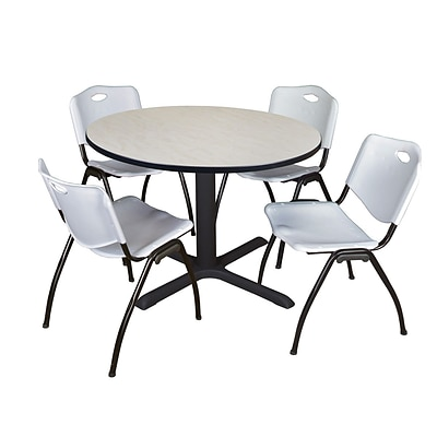 Regency Cain 48 Round Breakroom Table- Maple & 4 M Stack Chairs- Grey