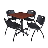 Regency Kobe 30 Square Breakroom Table- Cherry & 4 M Stack Chairs- Black