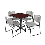 Regency Kobe 30 Square Breakroom Table- Mahogany & 4 Zeng Stack Chairs- Grey