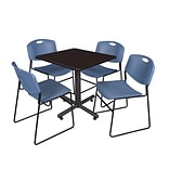 Regency Kobe 30 Square Breakroom Table- Mocha Walnut & 4 Zeng Stack Chairs- Blue