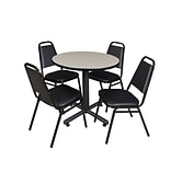 Regency Kobe 30 Round Breakroom Table- Maple & 4 Restaurant Stack Chairs- Black