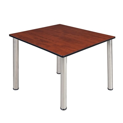 Regency Kee 48 Square Breakroom Table- Cherry/ Chrome