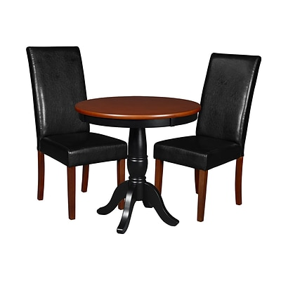 Niche Mod 30 Round Pedestal Table- Cherry/Black & 2 Tyler Dining Room Chairs- Cherry/Black