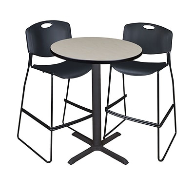 Regency Cain 30 Round Cafe Table- Maple & 2 Zeng Stack Stools- Black