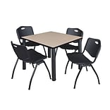 Regency Kee 42 Square Breakroom Table- Beige/ Black & 4 M Stack Chairs- Black