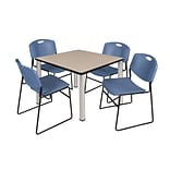 Regency Kee 42 Square Breakroom Table- Beige/ Chrome & 4 Zeng Stack Chairs- Blue