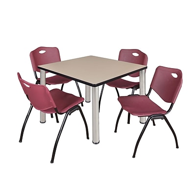 Regency Kee 42 Square Breakroom Table- Beige/ Chrome & 4 M Stack Chairs- Burgundy