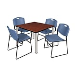 Regency Kee 42 Square Breakroom Table- Cherry/ Chrome & 4 Zeng Stack Chairs- Blue