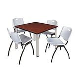 Regency Kee 42 Square Breakroom Table- Cherry/ Chrome & 4 M Stack Chairs- Grey