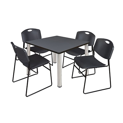 Regency Kee 42 Square Breakroom Table- Grey/ Chrome & 4 Zeng Stack Chairs- Black