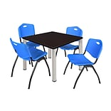 Regency Kee 42 Square Breakroom Table- Mocha Walnut/ Chrome & 4 M Stack Chairs- Blue