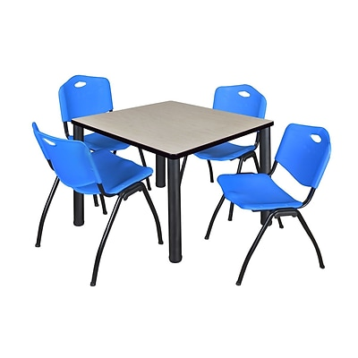Regency Kee 42 Square Breakroom Table- Maple/ Black & 4 M Stack Chairs- Blue