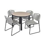 Regency Kee 42 Round Breakroom Table- Beige/ Black & 4 Zeng Stack Chairs- Grey