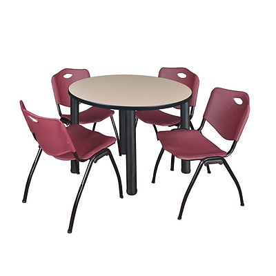 Regency Kee 42 Round Breakroom Table- Beige/ Black & 4 M Stack Chairs- Burgundy