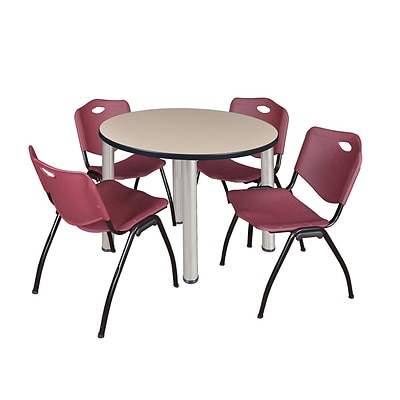 Regency Kee 42 Round Breakroom Table- Beige/ Chrome & 4 M Stack Chairs- Burgundy