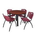 Regency Kee 42 Round Breakroom Table- Cherry/ Black & 4 M Stack Chairs- Burgundy