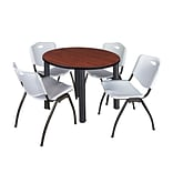 Regency Kee 42 Round Breakroom Table- Cherry/ Black & 4 M Stack Chairs- Grey