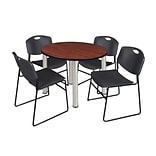 Regency Kee 42 Round Breakroom Table- Cherry/ Chrome & 4 Zeng Stack Chairs- Black