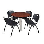 Regency Kee 42 Round Breakroom Table- Cherry/ Chrome & 4 M Stack Chairs- Black