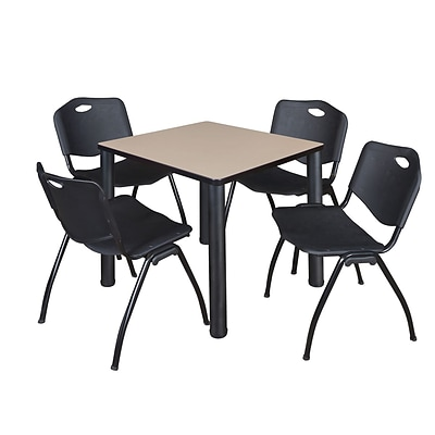 Regency Kee 30 Square Breakroom Table- Beige/ Black & 4 M Stack Chairs- Black