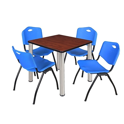 Regency Kee 30 Square Breakroom Table- Cherry/ Chrome & 4 M Stack Chairs- Blue