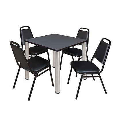 Regency Kee 30 Square Breakroom Table- Grey/ Chrome & 4 Restaurant Stack Chairs- Black