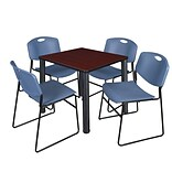 Regency Kee 30 Square Breakroom Table- Mahogany/ Black & 4 Zeng Stack Chairs- Blue
