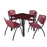 Regency Kee 30 Square Breakroom Table- Mahogany/ Black & 4 M Stack Chairs- Burgundy
