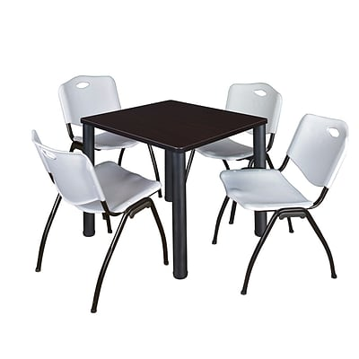 Regency Kee 30 Square Breakroom Table- Mocha Walnut/ Black & 4 M Stack Chairs- Grey
