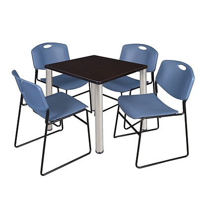 Regency Kee 30 Square Breakroom Table- Mocha Walnut/ Chrome & 4 Zeng Stack Chairs- Blue