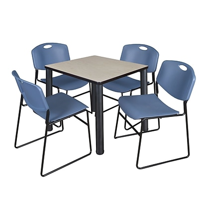 Regency Kee 30 Square Breakroom Table- Maple/ Black & 4 Zeng Stack Chairs- Blue
