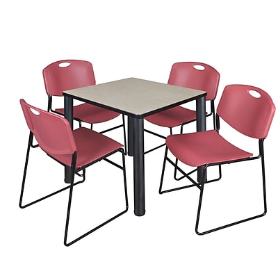 Regency Kee 30 Square Breakroom Table- Maple/ Black & 4 Zeng Stack Chairs- Burgundy