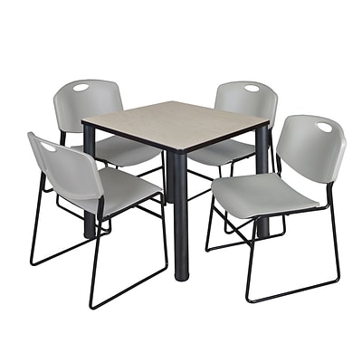 Regency Kee 30 Square Breakroom Table- Maple/ Black & 4 Zeng Stack Chairs- Grey