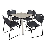 Regency Kee 30 Square Breakroom Table- Maple/ Chrome & 4 Zeng Stack Chairs- Black